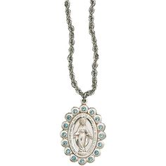 Miraculous Medal with Blue StonesSterling Silver Catholic JewelryThis beautiful medal features a slightly raised image of the blessed Lady Mary, surrounded by the traditional wording of the Miraculous Medal, and light blue stones embedded into the sterling silver. Absolutely one of the most lovely medals we carry.Measures 1.25 x 0.75 inches, with 24