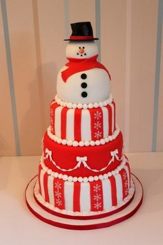 Snowman cake in red and white