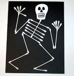Halloween Kids Crafts - 25 Spooky Ideas! - qtip skeleton