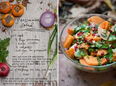Persimmon salad with cilantro, red onion and pom seeds. I made this for Thanksgiving and added big avocado chunks which was great as well. A lovely fall salad!  *Please remember to buy Fuyu persimmons. They are the squat, donut looking ones. The other more oblong persimmons leave a weird pasty, chalky taste in your mouth that is no fun. This dish works best when the persimmons are orange but relatively hard (not super ripe).