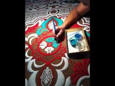 Quilt painting with pigments - YouTube