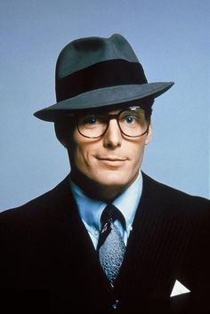 Christopher Reeve as Clark Kent looking extremely handsome in this photograph of him with a hat on. Christopher D'Olier Reeve (September 25, 1952 – October 10, 2004) was an American actor, film director, producer, screenwriter, author and activist. He achieved stardom for his acting achievements, in particular his motion-picture portrayal of the fictional superhero Superman.