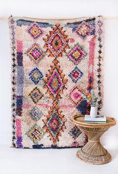 "Vintage Moroccan Boucherouite Rug, ""The Presley,"" Rag Rug, Berber Rug, Pink Rug, Geometric Rug, Bohemian Decor, Colorful Rug, Boho Rug"