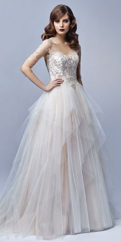 This Full A Line Dress Features An Ethereal Multilayer Tiered Ruffle Tulle Skirt And Stunningly Beaded Bodice