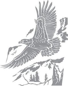Glass etching stencil of Bald Eagle over Mountain. In category: Birds of Prey Wood Burning Patterns, Wood Burning Art, Wood Patterns, Animal Stencil, Stencil Art, Kirigami, Glass Etching Stencils, Arte Tribal, Glass Engraving
