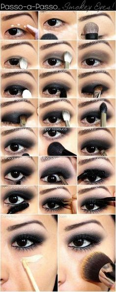A make-up guide for the perfect smokey eyes look .- Eine Make-up Anleitung für den perfekten Smokey Eyes Look A make-up guide for the perfect smokey eyes look up - Smoky Eye Makeup Tutorial, Smokey Eye Makeup, Emo Makeup Tutorial, Asian Smokey Eye, Mono Lid Eye Makeup, Makeup For Asian Eyes, Monolid Eyes, Black Smokey Eye, Asian Makeup