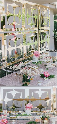Love this backdrop! Dessert Tablescape | Party time Midcentury Modern wedding day!