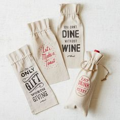 Make your host or hostess even happier by dressing up the wine gift. Wine Bags | west elm