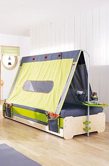 This is a (no longer available) Haba Terra Kids tent. wonder if I could do the same thing with a garment rack? Kids Beds For Sale, Cool Beds For Boys, Boys Loft Beds, Kid Beds, Tent Camping Beds, Bed Tent, Kids Tents, Play Tents, Cozy Bed