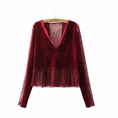 Women v neck lace patched velvet shirts vintage sweeet sexy pleated long sleeve blouse chic blusas casual tops