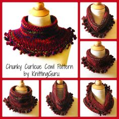 Chunky Curlicue Knit & Crochet Cowl Pattern is so fast to make in many colors for Holiday Gifts.