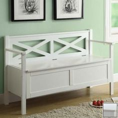 Perfect for home entryways, this white solid wood bench includes an attractive lattice style crisscross back design. The seat of the bench raises to provide storage. The bench is made from durable solid wood with a shiny white finish. Wooden Storage Bench, Entryway Bench Storage, Entry Bench, Entryway Furniture, Bench With Storage, Home Furniture, Hallway Bench, Seat Storage, Bench Furniture