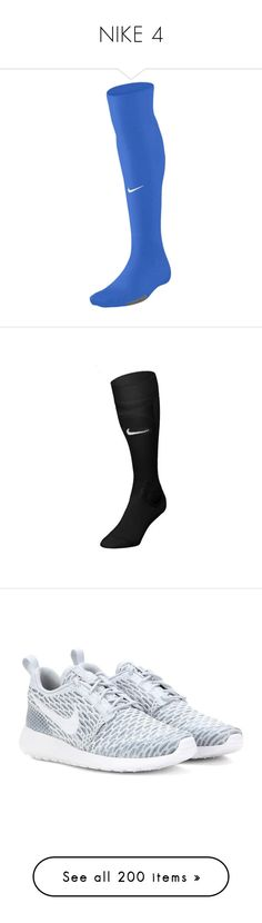 """""""NIKE 4"""" by ponyshirtirwin ❤ liked on Polyvore featuring intimates, hosiery, socks, nike, nike socks, shoes, sneakers, 19. shoes., footwear and grey"""
