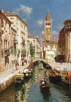 Title: Gondolas on a Venetian Backwater, undated Artist: Rubens Santoro Medium: Canvas Art Print - Giclee Italian Painters, Italian Artist, Venice Painting, Painting Art, Art Carte, Fine Art, Art Reproductions, Beautiful Paintings, Canvas Art Prints