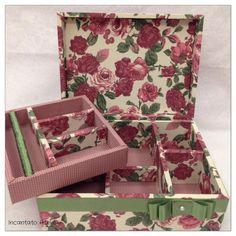 O Icantato Ateliê fez essa linda caixa com a coleção 011 - Floral da Fabricart Tecidos