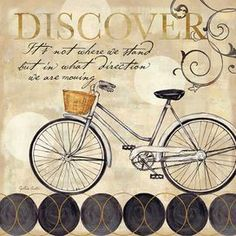 "Canvas print of a bicycle with typographic details.   Product: Canvas artConstruction Material: CanvasDimensions: 16"" H x 16"" W"