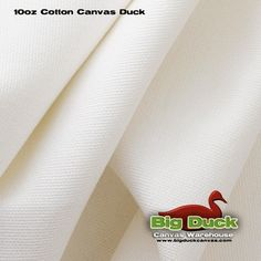 Pure White - Bleached 10 Ounce Cotton Duck (Canvas) Fabric By The Yard At Factory Direct - Wholesale Pricing!