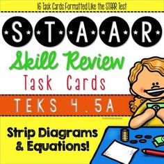 These task cards were designed to use in my own classroom as targeted review of fourth grade TEKS. Sixteen task cards for practice with the hard-to-find TEKS 4.5A: represent multi-step problems involving the four operations using strip diagrams and equations with a letter standing in for the unknown quantity.
