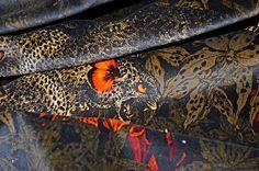SANTORUS FABRICS : FABRIC. Leopard's Prowl – Black/Khaki. 100% British Velvet • Sumptuous Feel • Made in UK. Shop online at www.santorus.com