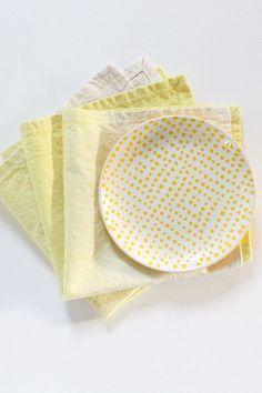 Yellow Hemp Cotton Napkins, Set of 4