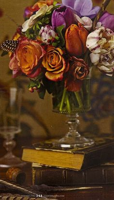 Old books, roses & tulips. I love the colors & the flowers! Makes me feel warm.  This particular picture, for some reason, reminds me of my Mother, may she rest in peace! ♡Mel~♡