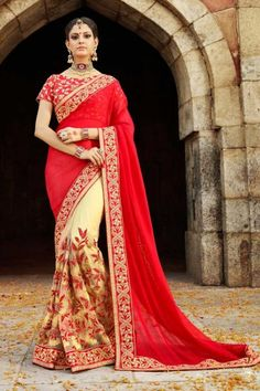 Chiffon And Net Saree With Art Silk Blouse In Red And Cream Color - DMV12265