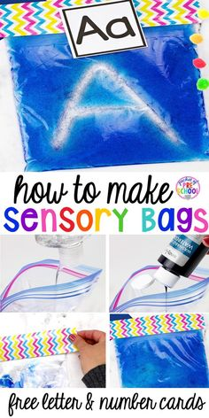 How to Make Sensory Bags PLUS a Letter and Number Card FREEBIE