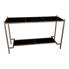 Uttermost Carle Black Glass Top Console