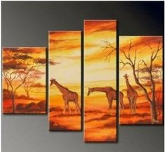 African Grassland Painting Decoration Unstretch