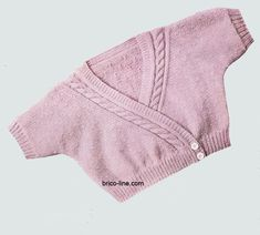 For six months to at least one yr Materials: Provides: g of child wool – a set of aig. mm -Four small buttons Factors used: -Single cords: 1 m. Tricot Baby, Cardigan Bebe, Fashion Tag, Knit Crochet, Bodysuit, Wool, Knitting, Points, Children