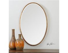 "Herleva Gold Oval Mirror by Uttermost $196 .  28""H x 17.75W x 1.13 D.  Not my first choice, but not ruling out yet."