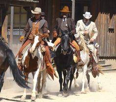 """Patrick Wilson, Kurt Russell and Matthew Fox seen riding horses on the set of Bone Tomahawk October 6, 2014"""