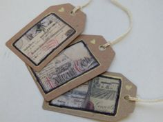 Valentine Gift Tags luggage labels.. Vintage by Pearlypantscrafts, £3.00