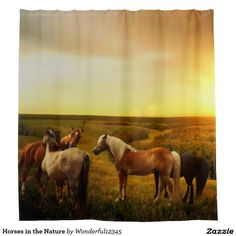 #Horses in the #Nature Shower Curtain