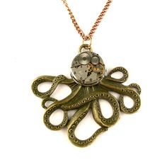 Octopus Watch Necklace  The Brainiacs Steampunk by SteamSect, $40.00