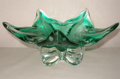 EXTRAORDINARY Art Glass STAR Form BOWL Deco MODERN Spectacular FOOTED Vessel  #ArtDecoModern