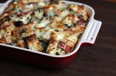 triple cheese spinach strata
