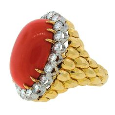 DAVID WEBB Coral Diamond & Yellow Gold Ring - 1stdibs.com