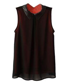 Sleeveless Hollow-out Collar Chiffon Shirt