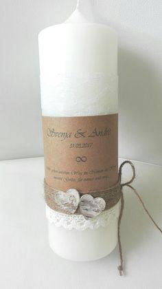 Hochzeitskerzen & Beleuchtung - HOCHZEITSKERZE KERZE HOCHZEIT VINTAGE SPITZE CREME - ein Designerstück von festliche-karten-und-mehr bei DaWanda