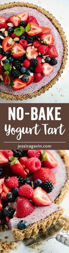 No Bake Blueberry Yogurt Tart Recipe - A wholesome and fun way to enjoy cereal for breakfast or as a healthier treat! via @foodiegavin