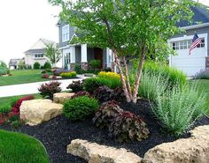 Newest Front Yard Design Ideas You Must Try Now Beauty Charming Large Yard Landscaping Design Ideas 129 rock garden and backyard ideas landscaping - page 30 - Home Small Front Yard Landscaping, Front Yard Design, Landscaping With Rocks, Outdoor Landscaping, Outdoor Gardens, Mailbox Landscaping, Florida Landscaping, Front Yard Landscape Design, Circle Driveway Landscaping