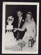 Vintage Antique Photograph Wedding Bride & Groom Cutting the Wedding Cake