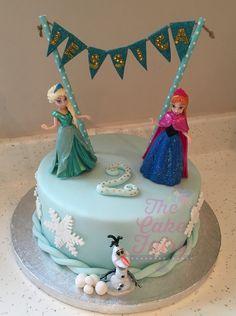 Frozen Anna Elsa pearlised snowflake cake