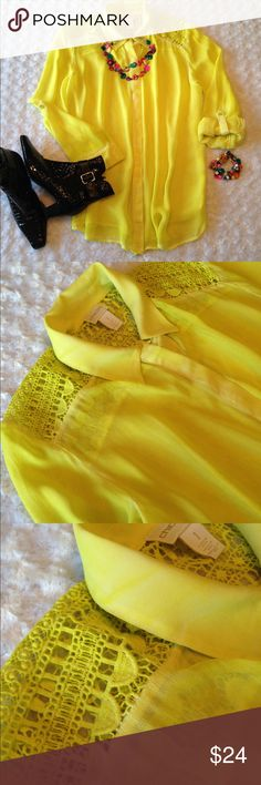 """Chico's Sheer Yellow Lace Shoulder Top Sz 1 = 8 M This blouse is bright yellow with a little white, which gives a slight tie dye look (see last pic.) It's beautiful. You can roll the sleeves up and button them for a 3/4 length or leave them long. Button front is hidden. Pre-owned in excellent condition. Underarm to underarm measures approx 22"""" and length 27"""". Chico's size 1 is equivalent to 8 or Medium. Thank you for looking and sharing. Chico's Tops Blouses"""