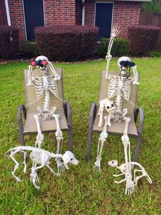 The 'Keeping Up With The Bones' Facebook page tracks goings on of the Bonses, a skeleton family created by Lumberton resident Amy B. Moses. Each day, Moses changes the display to show the family doing different things, like yoga poses, playing Twister and starting a family of their own. Photo: Keeping Up With The Bones/Facebook