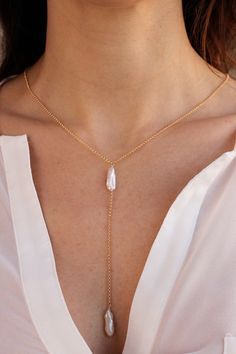 Biwa Y Necklace - Christine Elizabeth Jewelry - Glamour and Glow