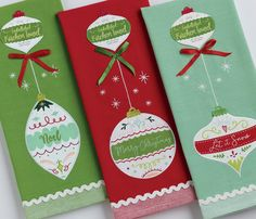 Christmas Ornament Embellished Dishtowel