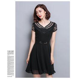ชุดเดรสสีดำ ชุดสีดำ เดรสผ้าชีฟองเนื้อดีสีดำ คอเสื้อสวยมาก