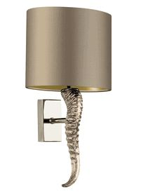 """Special Order Design: 18"""" Tall  Gazelle Horn Sconce * Nickel / Gilt Satin Shade * Click Image For Full Screen View"""